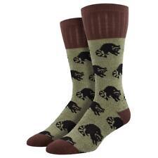 Socksmith Men's Boot Socks Outlands Raccoon Outdoor Green Brown Novelty Footwear