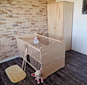 Babyzimmer Komplett Set Gitterbett Babybett Kinderzimmer  Schrank 70x140 MASSIV