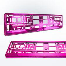 2x Kennzeichenhalter | PINK | Metallic | Nummernschildhalter | Hochglanz | ROSA