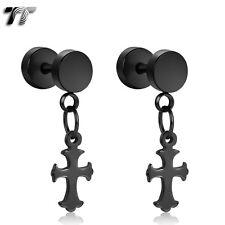 TT Black Surgical Steel Large Cross Dangle Fake Ear Plug Earrings (BE162D) NEW