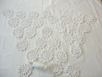 3 Vintage 1940's Hand Crochet Doilies Triangle Shape For Chairs / Sofa Ecru