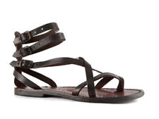 Handmade women's gladiators sandals in dark brown genuine leather Made in Italy