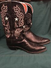 Lucchese 1883 Cowboy Boots Leather 10 B Narrow Embroidered Star Women's Black