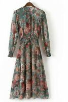 Casual Flower Printed Dress Elastic Waist And Cuffs Fit Long Sleeve Vintage Wear