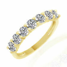 Round Diamond Engagement & Wedding Band Ring Solid 14k Yellow Gold