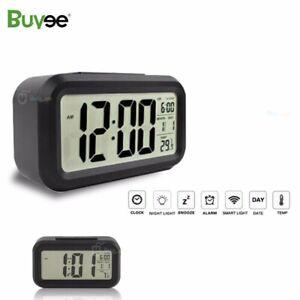 Digital LCD Display Snooze Electronic Alarm Clock LED Backlight Light Control UK