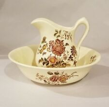 ROYAL CROWNFORD Transferware Pitcher & Bowl CHARLOTTE Multicolor ENGLAND