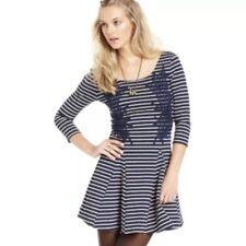 People Nautical & Knotty Dress Lace Striped Navy S P Small Jersey