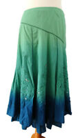 Per Una M&S Size 10 Green Blue Dipped Ombre Flared Skirt Boho Applique Jewels