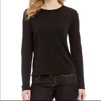 Eileen Fisher Women's 100% Silk Long Sleeve Semi Sheer Black Top Size Medium