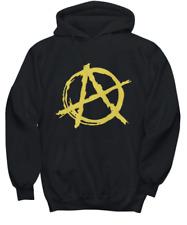 Punk Rock Yellow Anarchy A Black Hoodie Ancap Anarchist Hooded Sweatshirt Unisex