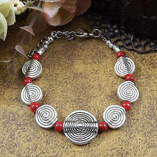HOT Free shipping New Tibet silver multicolor jade turquoise bead bracelet S87B