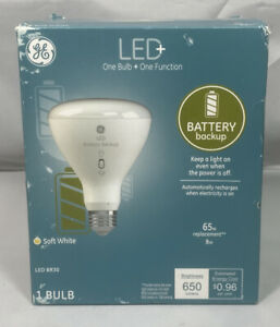 GE LED BR30 1 Bulb 65W Replacement uses 8W Soft White Battery Backup 650 lumens
