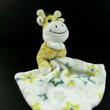Baby Boy Giraffe Lovey Security Blanket Soft Plush Yellow White Stars