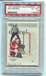 1970 Swedish Masterserien 26 Ken Dryden RC Rookie Card Canada PSA 6.5 EX-Mint+