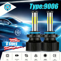 6 Sides 9006 HB4 LED Headlight Bulbs Kit Low Beam 2800W 370000LM 6500K White
