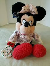 """Applause 14"""" Stuffed Minnie Mouse with a Christmas Stocking in her hand"""