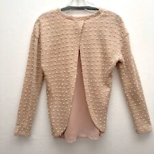 Pleione Pom Pom Knit Sweater Sheer Lining Sweater Top M Criscross Back Pale Pink