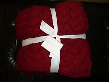 "NEW Pottery Barn Braided Handknit Throw Blanket 44"" x 56"" Cardinal Red"