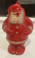 Vintage Hard Plastic Christmas Santa Candy Container Holder Ornament Lollypop