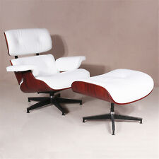 Rosewood EAMES Style Lounge Chair & Footstool Genuine Leather Armchair White