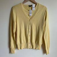 Brooks Brothers Womens Size L Yellow Cardigan Sweater Silk Set Knit Long Sleeve