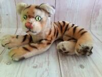 Vintage 50's Steiff Mohair Laying Tiger 9.5""