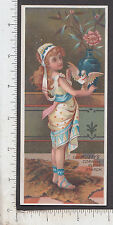 9403 Muzzy Corn Starch trade card girl & dove passenger pigeon Elkhart IN recipe