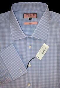 Thomas Pink Size 18-37 Slim Fit French Cuff Check Oxford Dress Shirt - $185 NWT