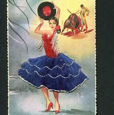 Old postcard SILK Embroidered Flamenco Dress PASODOBLE Bullfight. Novelty SPAIN