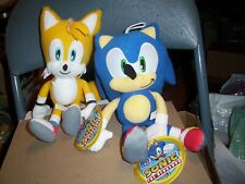 """Sonic The Hedgehog and Tails Plush Stuffed Dolls Toy 12"""" New w Tag Licensed Sega"""