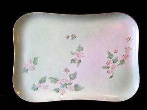 Antique Victorian CMC Limoges Vanity Tray Floral Pastels Gold France 1890-1914