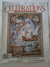 Autumn 1992 Celebrations Cross Stitch Pattern Magazine Teacher Sampler Halloween