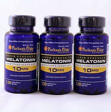 Puritan's Pride Super Strength Melatonin 10 mg 360 Capsules 3 x 120 Sleep Aid
