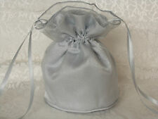 Silver satin and organza dolly bag for weddings/ bridesmaids/ evening wear/prom
