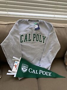 Cal Poly SLO Sweatshirt Embroidered and Green Pennant Flag Medium Champion Gray