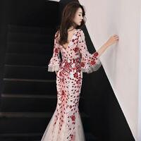Women Sequins Slim V-neck Fishtail Dress Mermaid Evening Party Long Skirt Prom
