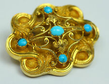 Circa 1800 18ct Yellow Gold Turquoise Family Mourning Brooch With Hair Locks