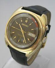 Magnífico! Seiko Automático 17 Joya Bell-matic reloj alarma, día y fecha, chapado en oro