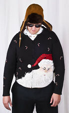 Ugly Tacky Christmas Party WINNER Santa Face Cardigan Sweater Jumper Adult L