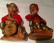Pixies Elf Figurine Music Red 60's by Tislo Hong Kong set of 2 *