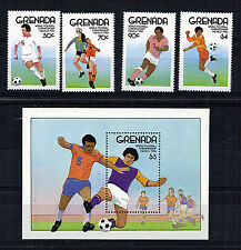 GRENADA SET OF 4 & M/SHEET COMMEMORATIVE STAMPS FOOTBALL WORLD CUP 1986 ALL MNH