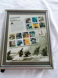 """Celebrate The Century 1940's Stamps 8"""" X 10"""" Fetco Frame WWII Transforms America"""