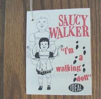 1960's Ideal SAUCY WALKER PLAYPAL doll 4 sided WRIST hang TAG  (Reproduction)