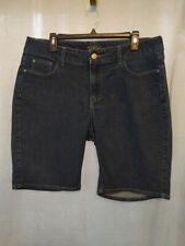 Riders Lee Dark Denim Blue Jean Knee Length Women Shorts 16 Bling Pocket Stretch