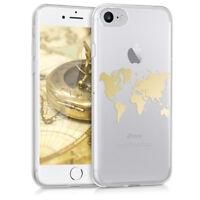 Cover für Apple iPhone 7 8 Hülle Weltkarte Umriss Gold Silikon Backcover