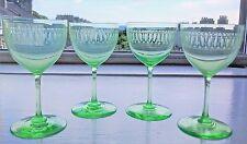 Four Victorian Uranium Vaseline Wine Glasses c.1850 - 60's (12.5 cm high)