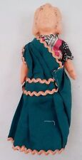 Old Celluloid Squeak Doll Ethnic Indian Lady Girl Handmade Sari Sarong Clothes