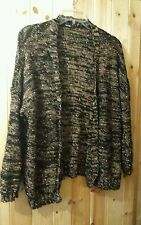 """Slouch Cardigan By George Size 8 - 10 Chest 42""""  Open Front Black Speckled"""