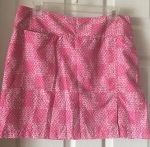 Izod Golf Skort Sz 8 Pink Plaid Geometrc Side Zip Pockets Shorts Water Resistant
